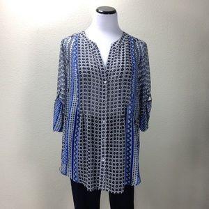 Chaus Black White & Blue Striped V-Neck Tunic
